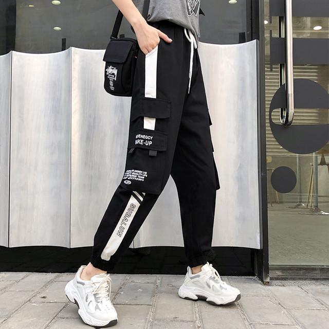 【ボトムス】ストライプ柄ハイウエストファッションカジュアルパンツ34365421