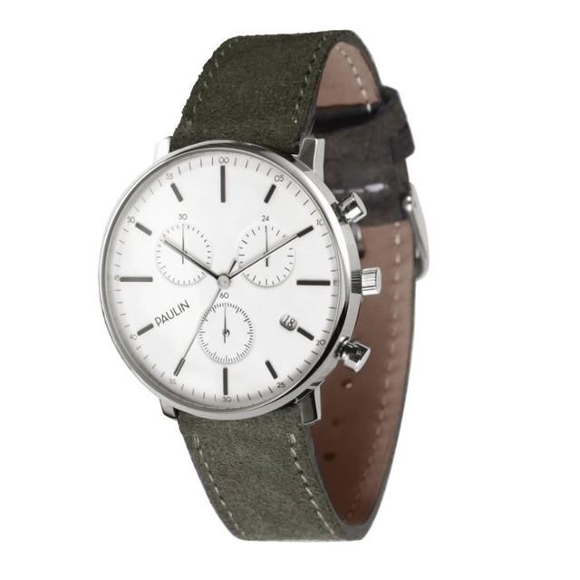 ポーリン クロノグラフ 腕時計 スエード オリーブ C201E-OV-S