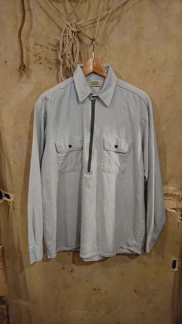 """90s """"FIVE BROTHER"""" HICKORY PULLOVER SHIRT"""