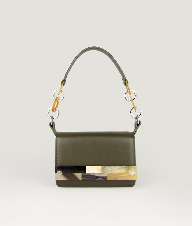 CROSSBODY NANO OLIVE GREEN with MOSAIC HORN