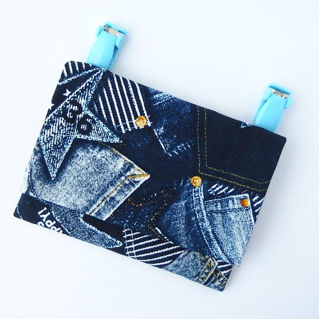 移動ポケット リボンネイビーベージュシンプル   ip-8