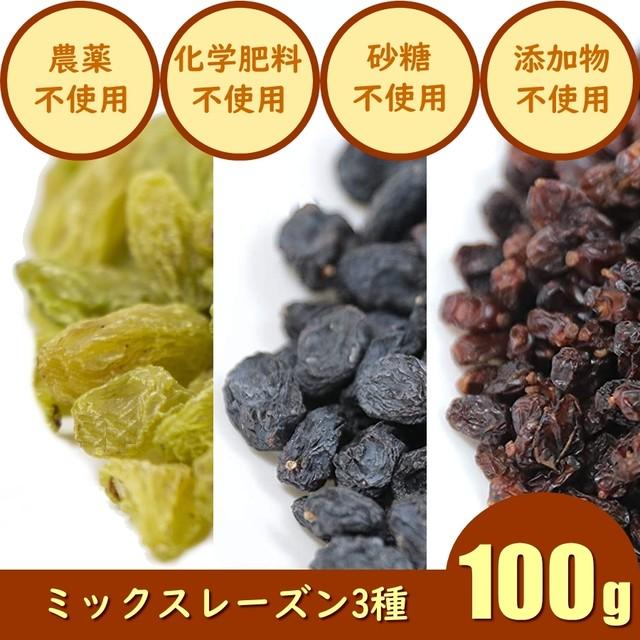 3種ミックスレーズン(グリーン・ブラック・レッド)のドライフルーツ 100g 鉄分やカリウム、カルシウム アントシアニン ナイアシン ポリフェノール 農薬不使用 化学肥料不使用 砂糖不使用 無添加
