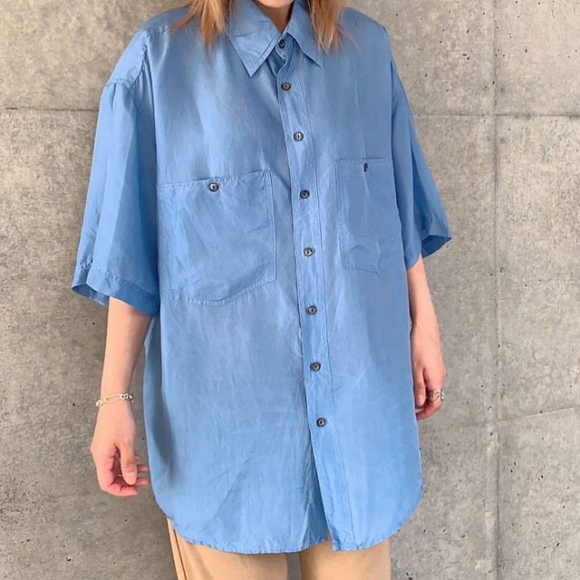 Euro vintage silk shirt -light blue-