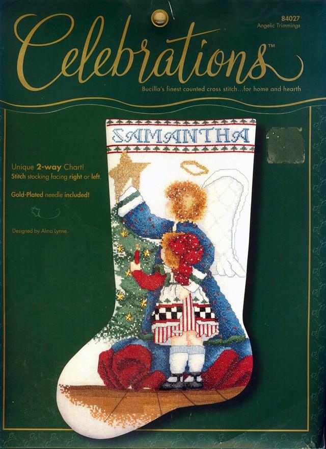 クリスマスストッキング「天使の飾り」 Angelic Trimmings (Bucilla 84027):C-6524