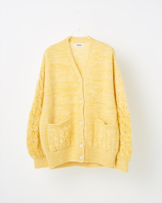 【COOHEM  WOMEN】MOHAIR CABLE KNIT CARDIGAN:イエロー