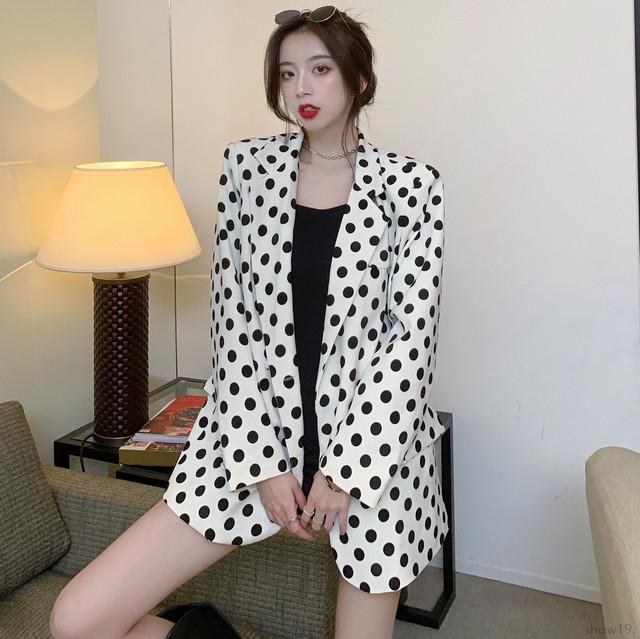 【アウター】INS風 ドット柄ゆったり合わせやすい長袖 スーツジャケット42170479