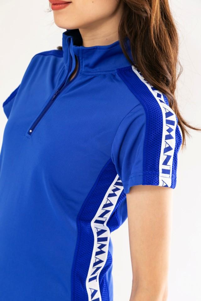 ロゴラインハイネックメッシュポロシャツ(WOMEN)/ブルー:1808091