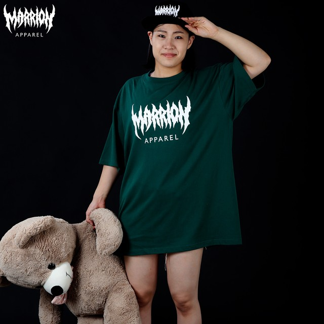MARRION APPAREL LOGO Tee  ( Ivy green×White)