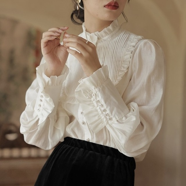 frill stand collar sheer blouse