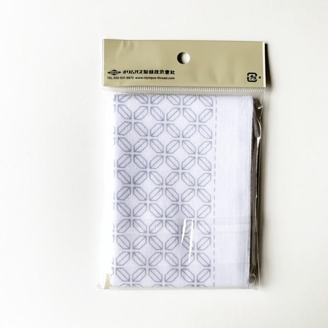 オリムパス 一目刺し花ふきん:H-1064 角七宝(白)