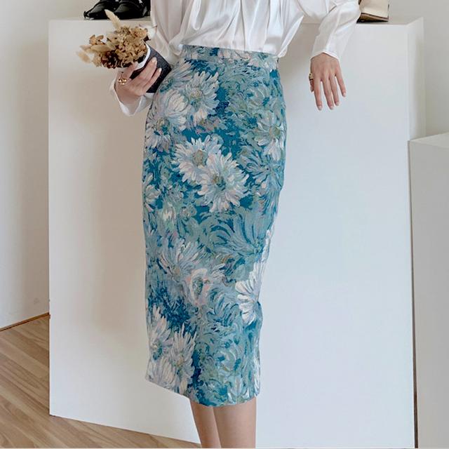 花柄ジャガードペンシルスカート*2color 100195