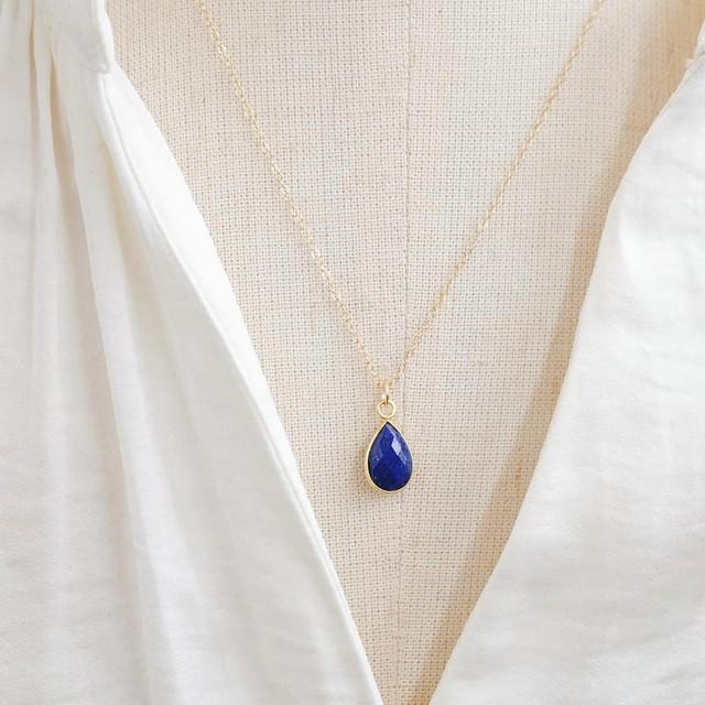 宝石質スカイブルートパーズ K14GFネックレス 40・45cm ~引き寄せ~