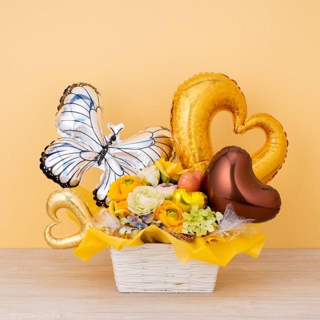 元気をくれるオレンジとイエローカラーのオリジナルパワーバルーン