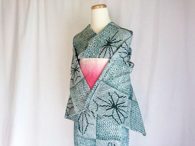 【K-45】  丈158 裄67 緑 三浦絞り 総絞り 浴衣 リサイクル