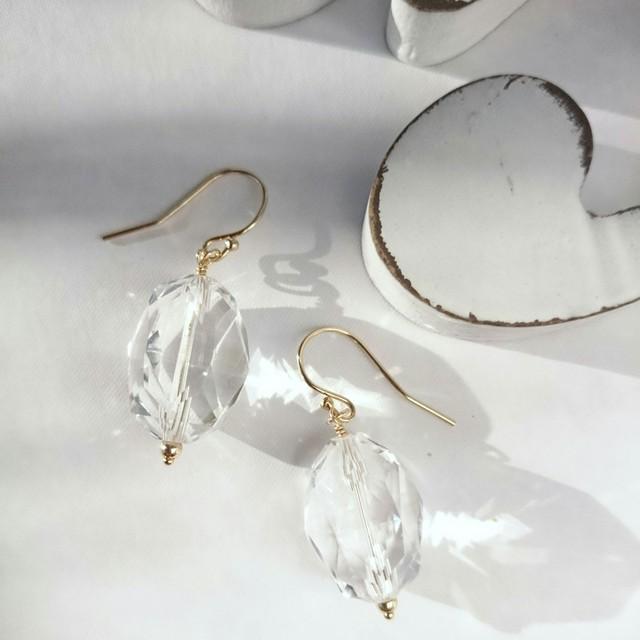 送料無料 14kgf*AAAcrystal quartz hook pierced earring/earring