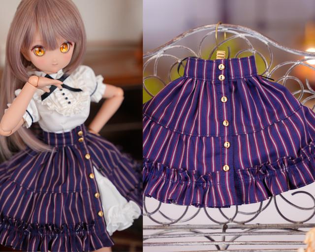 MDD / SDM / KUMAKO対応OF【おしゃまティアードスカート(レジメンタル紺色)】MDD / SDM / KUMAKO Outfit【Oshama Tiered skirt(regimental stripe navy blue)】