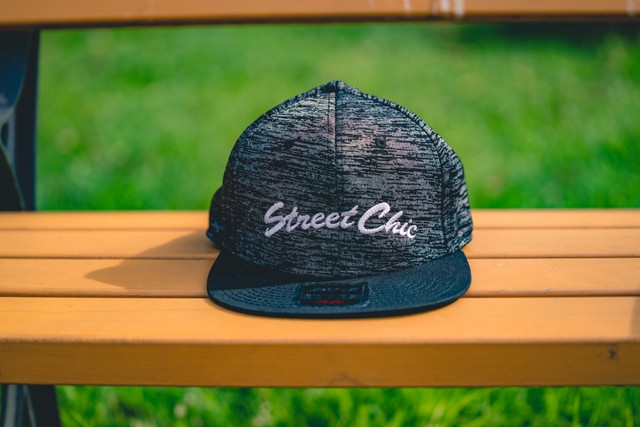 Flat visor cap / Cotton twill square [Black/Plain-black] Leaves - StreetChic