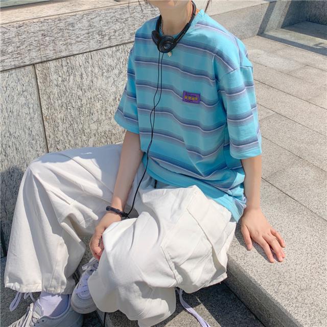 【翌日発送】Stripe oversize T-shirts LD0701