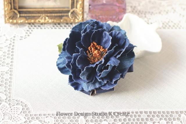 再販:インディゴデニムのピオニーのお花ヘアゴム デニム 青 ブルー お花 ヘアゴム