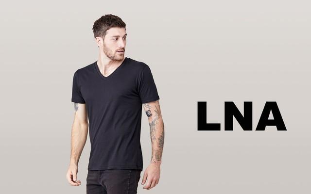 LNA/エルエヌエー ショートスリーブVネックシャツ/ブラック