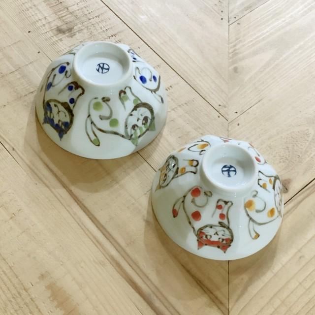 水玉猫  ご飯茶碗