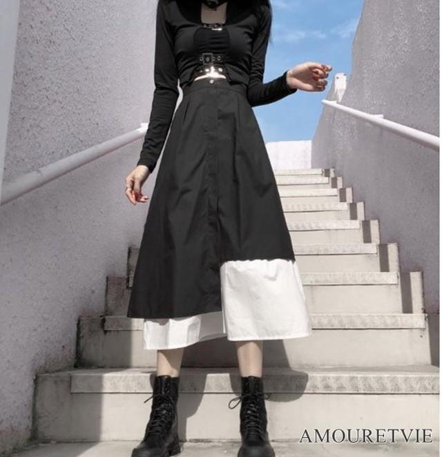 ロングスカート モノトーン バイカラー 白黒 アシンメトリー カジュアル ストリート ピープス オルチャン 韓国ファッション 1367
