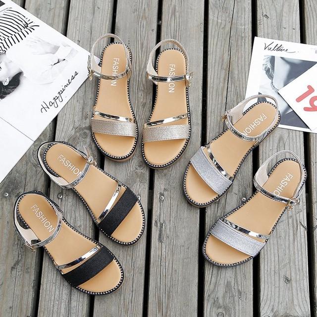 フラットサンダル アンクルストラップ 韓国ファッション レディース ぺたんこ サンダル ストラップ キュート 痛くない かわいい 靴 歩きやすい 58953956092