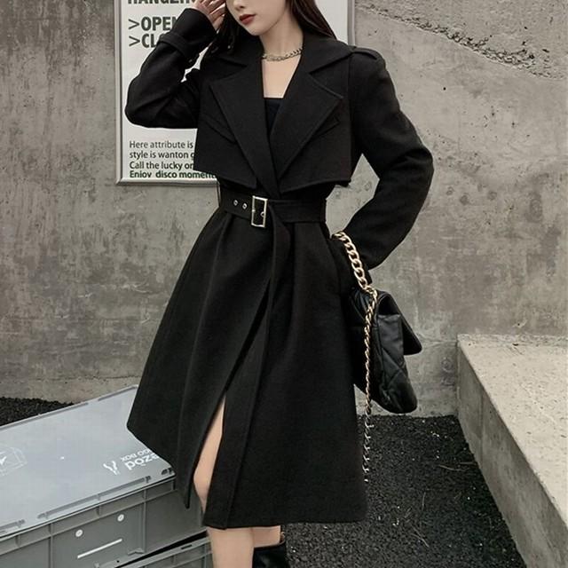 ツーピース ロングコート + ベスト ベルト付き ウール ロング丈 韓国ファッション レディース コート アウター 大人可愛い フォーマル ガーリー / Waist wool coat windbreaker + lapel waist coat two-piece (DTC-630171040843)