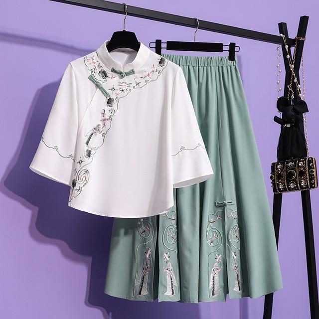 【KAIDIシリーズ】★セットアップ ★ トップス+スカート 改良漢服 刺繍 成人式 可愛い オリジナル 合わせやすい