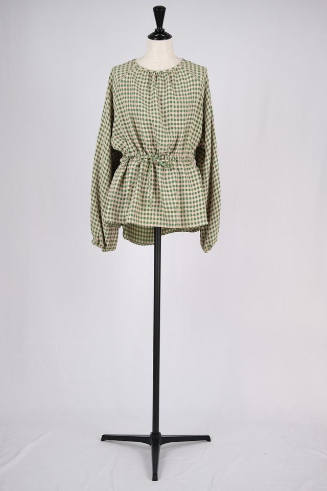 【BELPER】gingham blouse