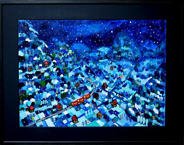 油彩画*雪のよる* 2015