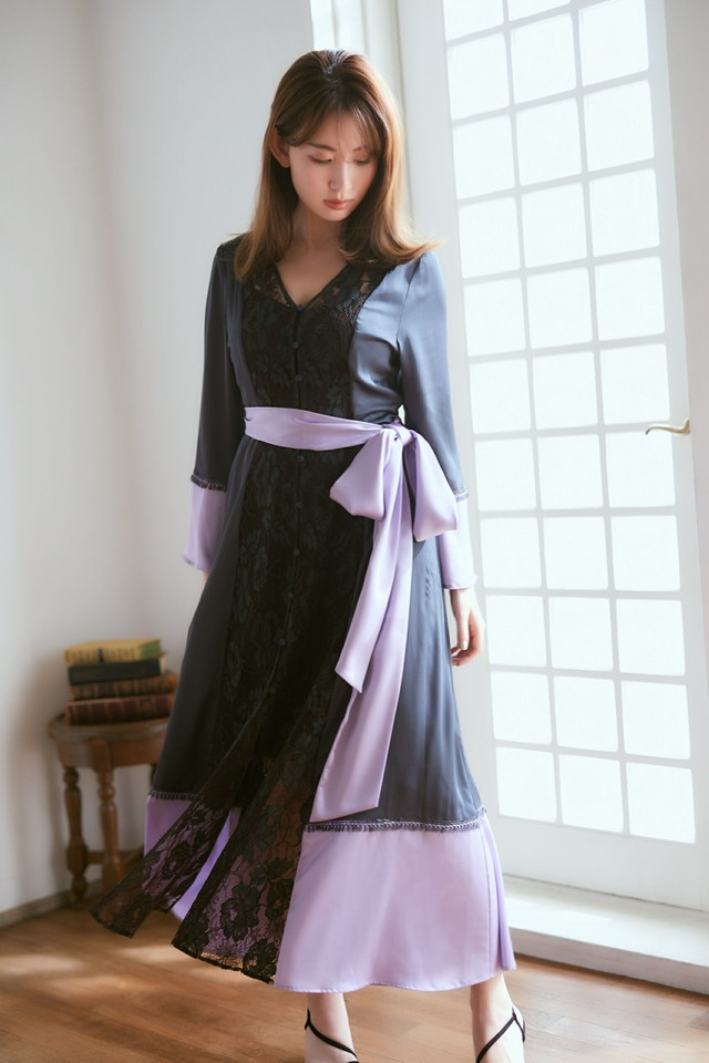 Two-tone Lace Satin Robe