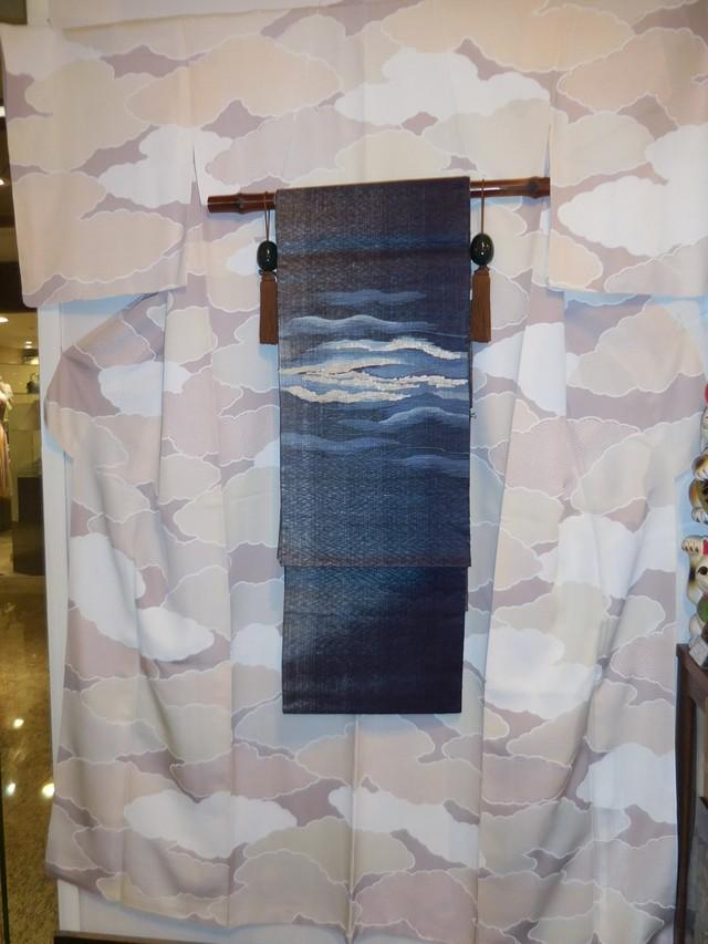 弓浜絣着物 Yumihama kasuri cotton Kimono