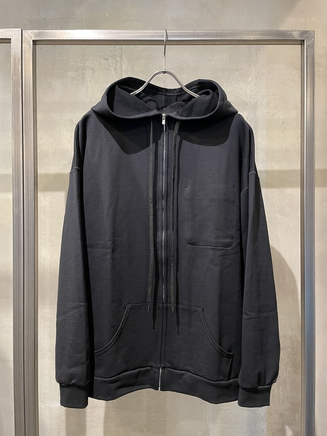 T/f loose fit zip hoodie - black