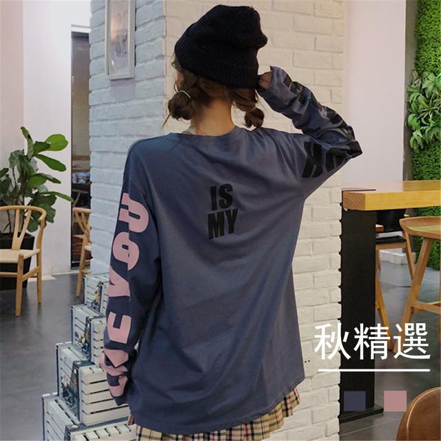 【トップス】大人気 韓国風長袖ルーズプルオーバー多色展開Tシャツ26560821