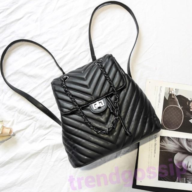 【即納】チェーン付きキルティングリュック/ハンドバッグ/鞄/Bag