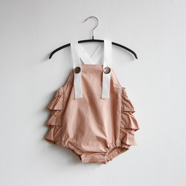 《mimi poupons 2020SS》フリルサロペット / pink / one(70-80cm)
