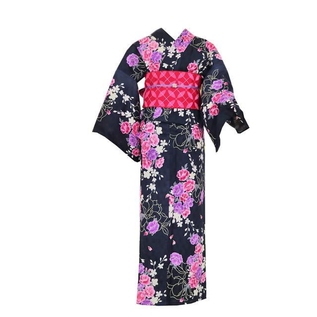 SALE【新品】浴衣+帯セット(紺地に薔薇、帯:ピンク)