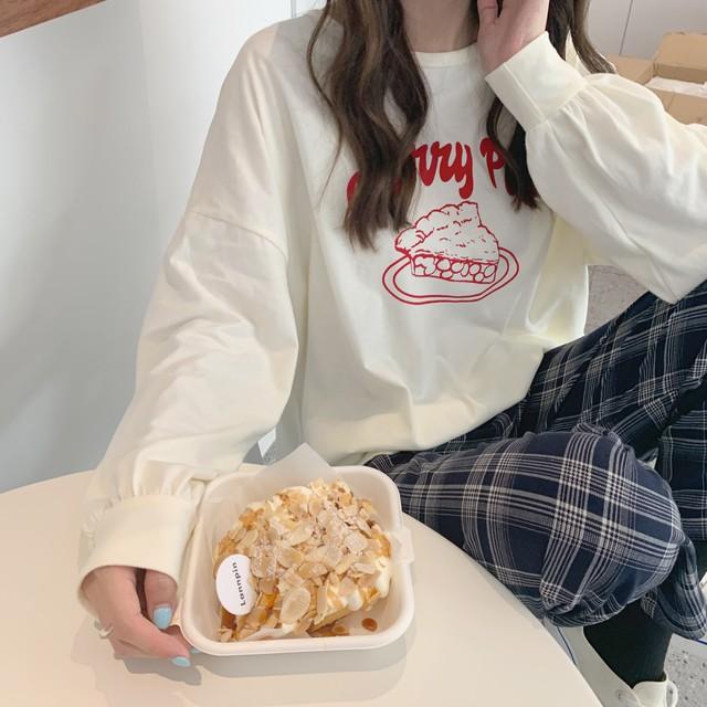 〈カフェシリーズ〉チェリーパイとウサギのロンT【cherry pie & rabbit long t-shirt】