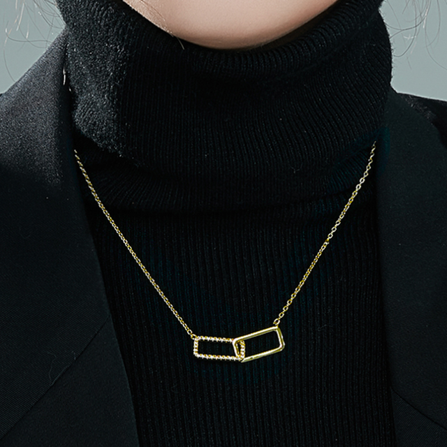 「order」double square gold necklace n046