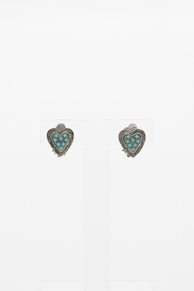 【Run Rabbit Run Vintage 】Blue heart earring