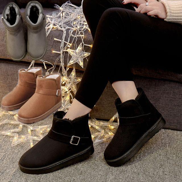 【FANRSEEN/ファンレッセン】3COLOR☆ムートンブーツ ミニバックル エンジニア ショートブーツ ボアブーツ / TSnow boots female winter short tube plus velvet boot (DCT-563256435963)
