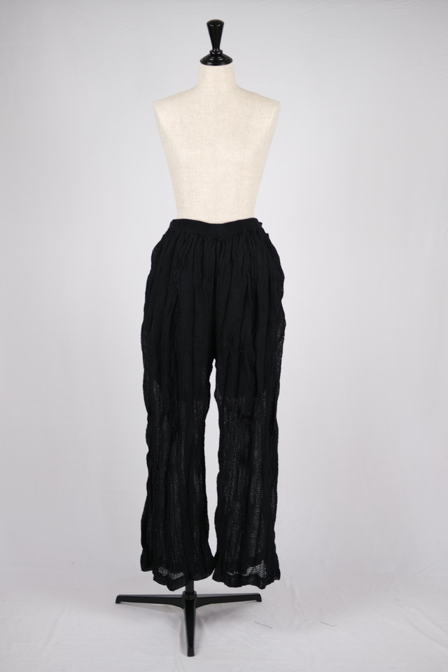 【kota gushiken】Shrunk drunk cable trousers - black