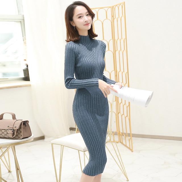 【dress】ニットワンピース定番シンプルストレッチ快適ワンピース