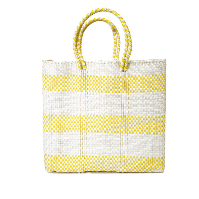 MERCADO BAG BORDER2-White x Yellow (M)
