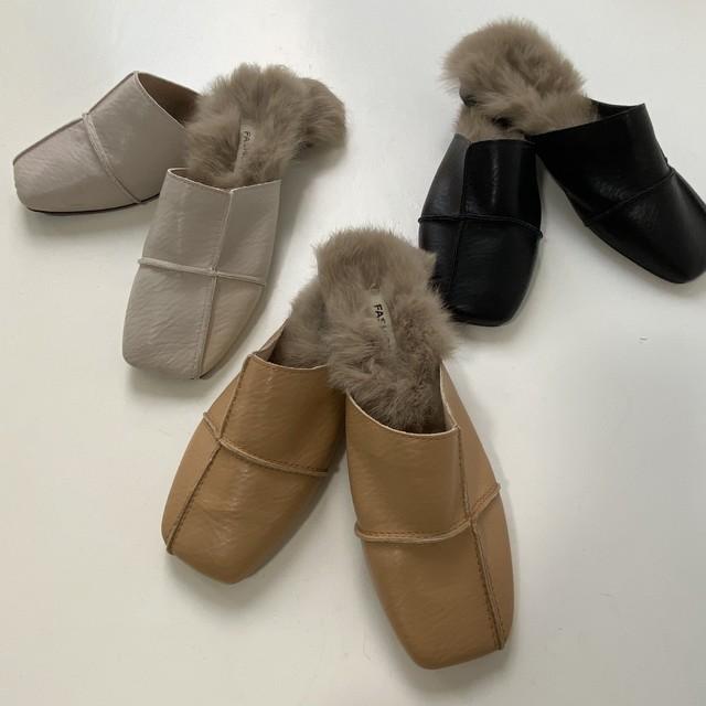 即納Piping fur flat shos
