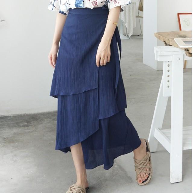 【dress】美シルエットカジュアル不規則ボウタイすね丈無地ハイウエストティアードスカート