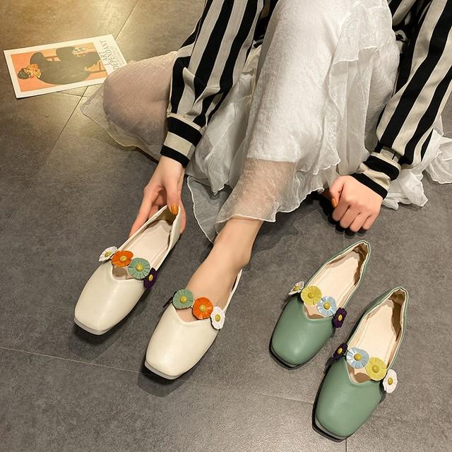 【shoes】可愛さを兼ね備えるフラワーPUフラットシューズ