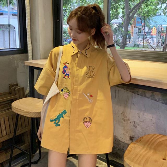 【tops】刺繍韓国系POLOネックシングルブレストシャツ