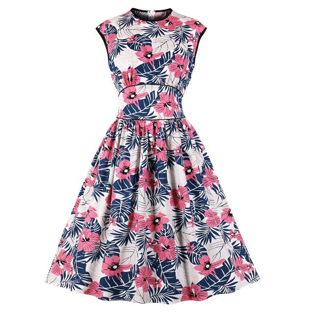 フラワー ラウンドネック ドレス【R1056】